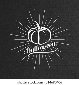 Halloween Pumpkin. Holiday Vector Illustration. Lettering Composition With Light Rays