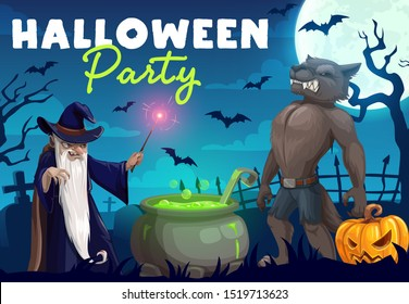 Halloween pumpkin, horror bats and monsters. Vector evil wizard making potion with cauldron and magic wand, werewolf and moon in graveyard with creepy trees and tombstones, party invitation design
