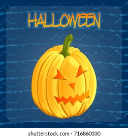 Halloween pumpkin icon in cartoon style. Jack o lantern isolated on a dark blue doodle blots background. It can be used for design greeting card, party invitation, banners, print, logo. Vector