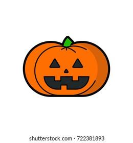 Halloween Pumpkin icon. Flat design illustration.