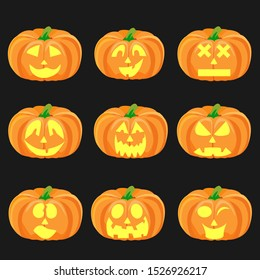 Halloween pumpkin icon set with emoji