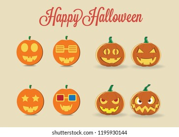Halloween pumpkin icons. Halloween is a celebration observed in a number of countries on 31 October, the eve of the Western Christian feast of All Hallows' Day.