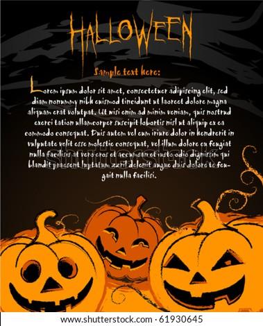 halloween pumpkin illustration banners labels invite stock vector