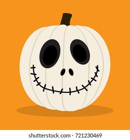 halloween pumpkin isolated on orange background, cartoon happy white pumkin