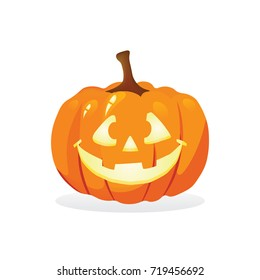 Halloween pumpkin isolated on white vector illustration