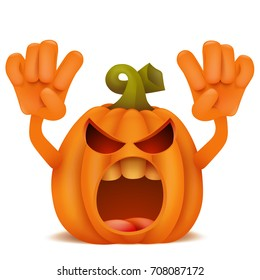 Halloween Pumpkin Jack Lantern emoticon cartoon character. Vector illustration