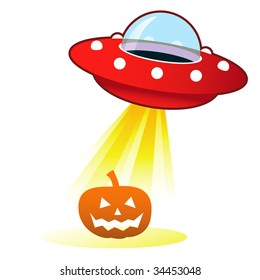 Halloween pumpkin Jack 'o Lantern icon on retro flying saucer UFO with light beam.