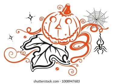Halloween pumpkin with leaf, spider  and stars.