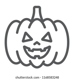 Halloween pumpkin line icon, autumn and decoration, food sign, vector graphics, a linear pattern on a white background, eps 10.