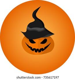 halloween pumpkin monster in a hat. vector illustration.