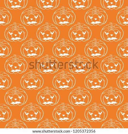 Halloween Pumpkin Pattern Orange White Seamless Stock Vector