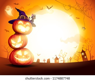 Halloween Pumpkin Pile. Stacked pumpkins in the moonlight. Jack O Lantern