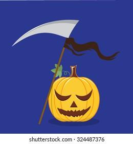 Halloween pumpkin with scary