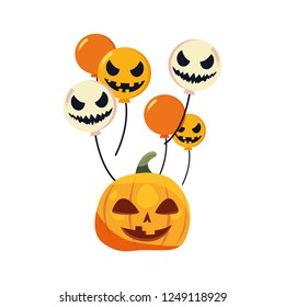 halloween pumpkin and scary balloons decoration