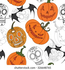 Halloween pumpkin seamless pattern, with sugarskull and bats vector drawing