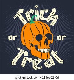 Halloween Pumpkin Skull on dark background. Happy Halloween poster