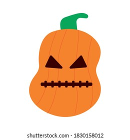 halloween pumpkin with stitched mouth flat style icon vector illustration design