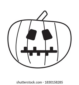 halloween pumpkin with stitched mouth line style icon vector illustration design