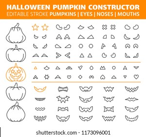 Halloween Pumpkin thin line icon set. Outline sign kit of face constructor. Character creation linear icons of avatar emotion design. Editable stroke without fill. Halloween gourd simple vector symbol