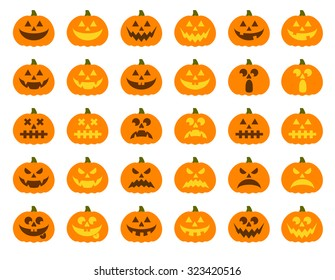 Halloween pumpkin vector 30 icons set, Emotion Variation. Simple flat style design elements. Set of silhouette spooky horror images of pumpkins. Scary Jack-o-lantern facial expressions Illustration.