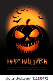 Halloween pumpkin vector background. Illustration of Halloween pumpkin with Moon and bats in black background