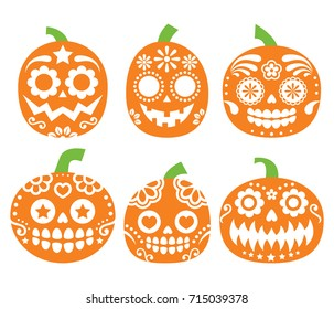 Halloween pumpkin vector desgin - Mexican sugar skull style, Dia de los Muertos decoration