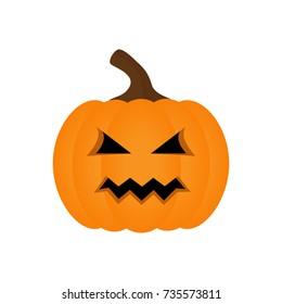 Halloween pumpkin vector graphic. Carved halloween orange pumpkin, isolated on white background.