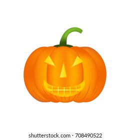 Halloween pumpkin vector icon, emotion variation, emoji cute smile. Simple flat style design elements.  Different funny and horror face expressions.