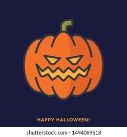 Halloween pumpkin. Vector illustration, filled outline style.