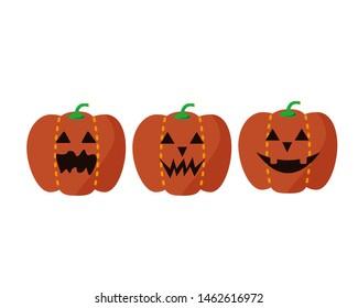 Halloween pumpkin vector illustration.Jack O Lantern.