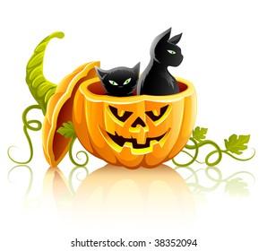halloween pumpkin vegetable with black cats - vector illustration