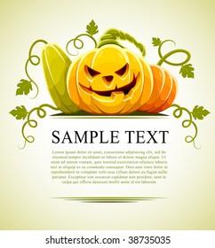 halloween pumpkin vegetables with green leaves - vector illustration