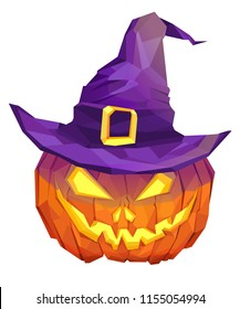 Halloween pumpkin wearing witch's hat low poly design. Triangle vector illustration.