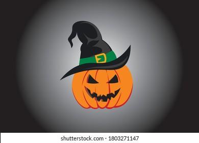 Halloween pumpkin witch hat banner. Vector design illustration concept