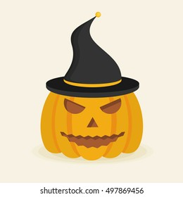 Halloween pumpkin with witch hat. Flat style icon. Vector illustration.
