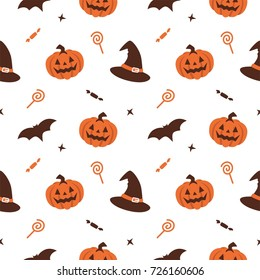 halloween pumpkin witch hat seamless pattern background vector with trick or treat candy and bat illustration
