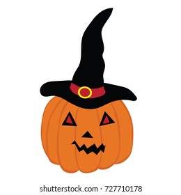Halloween pumpkin with witch hat. Vector illustration.