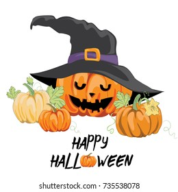 Halloween pumpkin with witch hat. Vector illustration of various pumpkins on white background. Happy Halloween