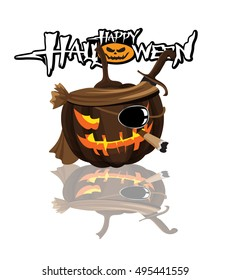 Halloween pumpkin witch on a white background.