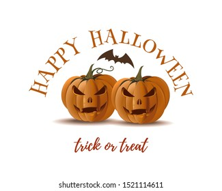 Halloween pumpkins and bat isolated on white background. Halloween design. Trick or treat. Vector illustration