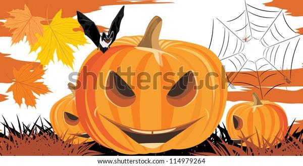 halloween-pumpkins-bat-spiders-vector-60