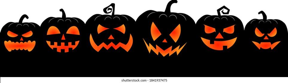halloween pumpkins border in a row isolated vector illustration