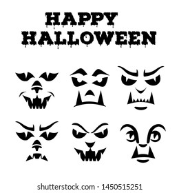 Halloween pumpkins carved faces silhouettes collection. Template with variety of eyes, mouths, noses for cut out jack o lantern. Funny werewolfs  stencil set. Monster icons. Black and white vector art
