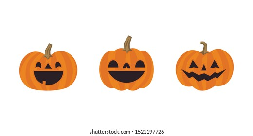 Halloween pumpkins cute illustration. Set of carved pumpkin cartoons with funny faces.