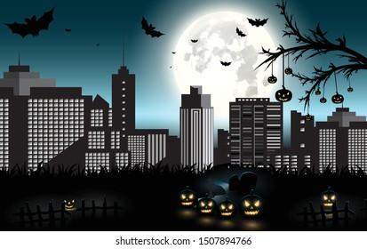 Halloween pumpkins and dark castle on blue Moon background, illustration.