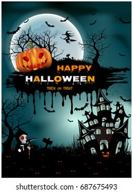 Halloween pumpkins and dark castle on blue Moon background, illustration