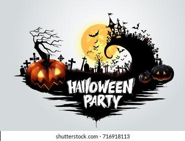 Halloween pumpkins and dark castle on full Moon background,Happy Halloween message design illustration.