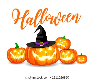 Halloween pumpkins with hat. Happy Halloween concept. Illustration design for greeting card, poster banner or print.