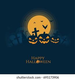 Halloween pumpkins house,cat,bat silhouette.Full moon background vector illustration.
