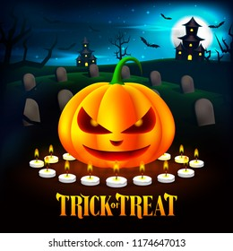 Halloween Pumpkins Illustration in the Cemetery with Haunted House Background. Vector